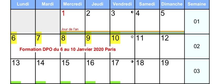 Nos dates de formation en Janvier 2020