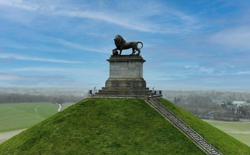 Butte du lion Mémorial Waterloo 1815 vue aerienne