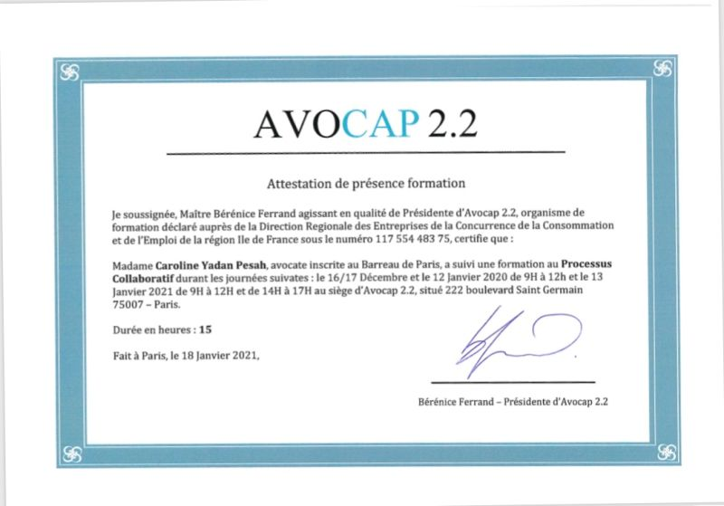 AVOCAP Certificat Droit Collaboratif